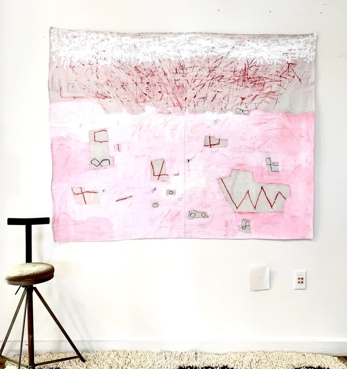 New Untitled Pink + Raw Linen Work